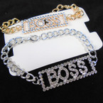 Gold & Silver Chain Link Bracelet w/ Cry. Stone BOSS BLOCK Style 12 per pk  .56  each
