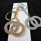 Gold & Silver Cry. Stone DBL Circle Fashion  Keychains w/ Clip .56 each