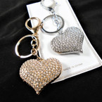"1.5"" Puffed Gold & Silver Cry. Stone Heart Fashion  Keychains w/ Clip .56 each"