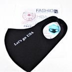Black Let's Go USA Saying Face Masks Washable & Reusable 12 per pk  $1.25 each