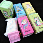 "3.5"" Square Plastic Can Unicorn Theme Keychain  w/ Wet Wipes .70 each"