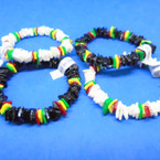 Puka Shell Stretch Bracelet Blk/Wh w/ Rasta Color Chips .80 ea