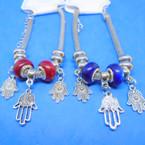 Pandora Style Charm Bracelets Silver w/ Sil. Hamsa Charms Red/Blue Beads   .58 each