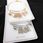 Gold & Silver Wire Bangle Bracelet w/ Crystal Stone Letter BABE .56 ea
