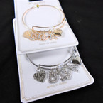 Gold & Silver Wire Bangle Bracelet w/ Crystal Stone Letter DIVA .56 ea