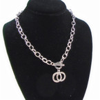 "18"" Silver Link Necklace w/ Crystal Stone DBL Circle Pendant . 58 each"