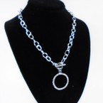 """18"""" Silver Link Necklace w/ Crystal Stone  Circle of Life Pendant . 58 each"""