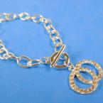 Silver Link Toggle Style Bracelet w/ DBL Circle Cry. Stone  Charm12 per pk .56 ea