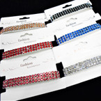 Hi Fashion Triple Line Stretch Cry. Stone Tennis Bracelets Mixed Colors  .58 each