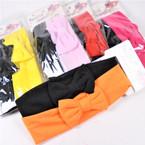 "2 Pack 1.5"" Kids Stretch Headbands w/ Bow (1635) Asst Colors .56 per set"