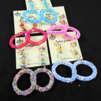 """2.5"""" Beaded Fashion Earring w/ Sparkle Dangle Ring .54 per pair"""