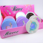 Colorful Unicorn  Theme Round DBL Compact Mirror in Display (007) .60  each