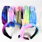 "1.5"" Tye Dye Fabric Fashion Headbands w/ Knot (2881)  .56 each"