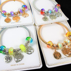 Gold & Silver Spring Style Bracelet w/ Colorful Beads & Tree of Life Charms   .58 each