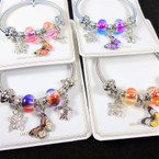 Silver Spring Style Bracelet w/ Colorful Beads,Butterfly/Turtle Charms   .58  each