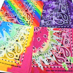 Bandana Stone Washed /Rainbow  DBL Sided Printed 100% Cotton .60 each