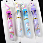 "6""  10 Color  Unicorn Theme Ink Pen 12 per pk (2878) . 58 each"