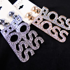 "2.5"" Gold & Silver Heart CLIP ON Earrings w/ Cry. Stone BOSS .54 ea pair"