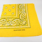 Bandana Golden Yellow DBL Sided Printed 100% Cotton .60 each