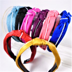"1.5"" Asst Color Soft Fabric Fashion Headbands w/ Knot  & White Pearls  .56 each"