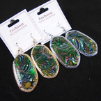 "2"" Gold & Silver Frame Earring w/ Abalone Shell Look Inlay .65 per pair"