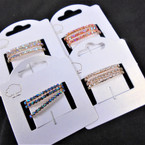 3 Pk Rhinestone Stretch Rings Mixed Colors AB Shiney Stones ONLY .56 per set of 3