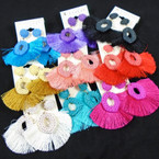 "Colorful 2"" Fringe Style Earring w/ Oval Fashion Top   .54 per pair"
