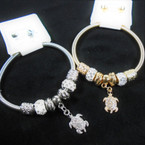Gold & Silver Spring Style Bracelet w/ Cry. Stone Turtle Charm   .56 each