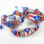 Puerto Rico Flag Theme Leather Bracelets  12 per pk  .54 each
