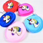 "3"" Round Velveteen Zipper Coin Purse w/ Glitter Unicorn .50 each"