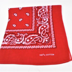 Bandana  Red  DBL Sided Printed 100% Cotton .60 each