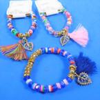 Colorful Stretch Bracelet w/ Crystal Beads Leaf & Tassel Charm .54 each