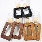 "2.5"" Square Wood Fashion Earring w/ Brushed Gold Top  .54 per pair"