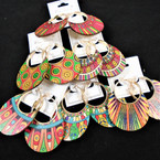 "3"" Colorful Print Round Fashion Earring on Gold Hoop   .54 per pair"