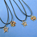 "16"" Adj. Black Cord Necklace w/ Butterfly Pendant 2 styles 24 per pack  .30 each"