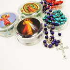 "36"" Scent Wood Rosary in Keepsake See Thru Container .58 each"