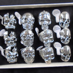 4 Style Cast Silver Skull Theme Rings 12 per bx .60 each
