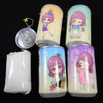 "3.25"" Tall Soda Can Summer Fruit w/ Girl  Theme Keychain  w/ Wet Wipes .70 each"