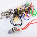 Metal Whistle on Wrislet Cord w/ Clip  12 per pk .50 each
