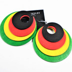 "2.75"" Round 4 Layer Rasta Color Wood Fashion Earrings .54 per pair"