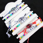 2 Pack Bracelet Set LOVE Beaded & Sugar Skull  on Cord .54 per set