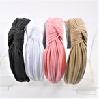 "1.5"" Pleated Fabric E-Color Tones  Fashion Headbands w/ Knot .56 each"