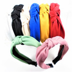 "1.5"" Soft Comfy Fabric Fashion Headbands w/ Knot 8 colors .56 each"