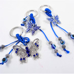 2 Style Silver Cast Metal Butterfly Keychains 12 per pk  .54 each