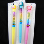"8"" Sweet Paw Print Theme Ink Pens w/ Water & Glitter 12 per pk  .58 each"