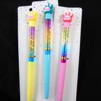"8"" Sweet Paw Print Theme Ink Pens w/ Water & Glitter 12 per pk  .58 each"