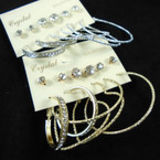 Classy 6 Pair Earring Set Gold & Silver Hoops & Crystal Studs .50 per set