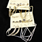 Classy 6 Pair Earring Set Gold & Silver Hoops & Crystal Studs  (44) .50 per set
