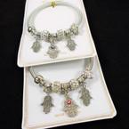 Silver Spring Style Bracelet w/ Hamsa Charms  & Crystal Beads   .56  each