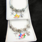 Silver Spring Style Bracelet w/ Sealife Charms & Colorful Shark   .56  each
